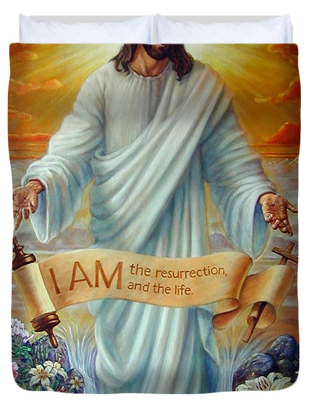 Jesus Christ Duvet Cover featuring the painting I AM the Resurrection by John Lautermilch