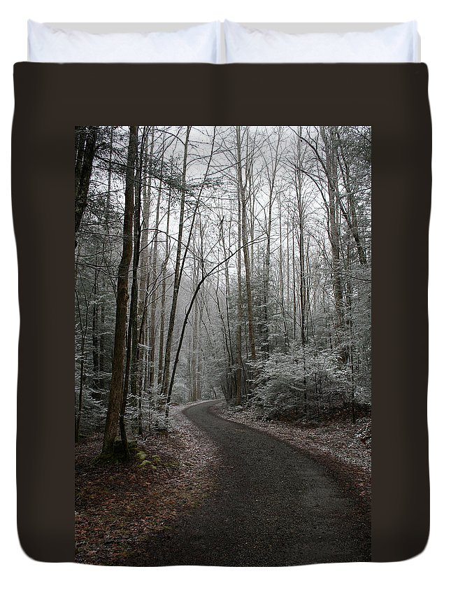 Nature Road Country Woods Forest Tree Trees Snow Winter Peaceful Quite Path White Forest Drive Duvet Cover featuring the photograph I Am The Way by Andrei Shliakhau