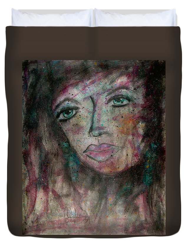 Expressionism Duvet Cover featuring the painting I Am Thinking Of You by Natalie Holland
