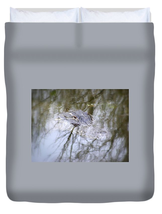 Alligator Duvet Cover featuring the photograph I Am Watching by Ed Smith