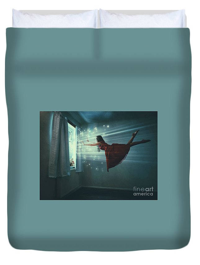 Levitation Duvet Cover featuring the photograph I Believe I Can Fly by Amanda Elwell