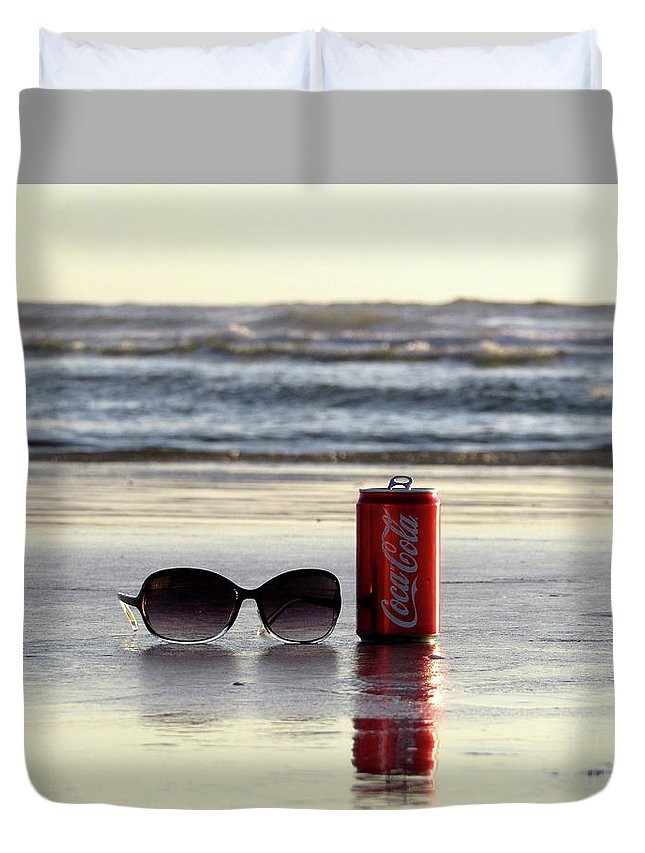 Coca-cola Duvet Cover featuring the photograph I Can Sea Clearly Now by Judy Bugg Malinowski