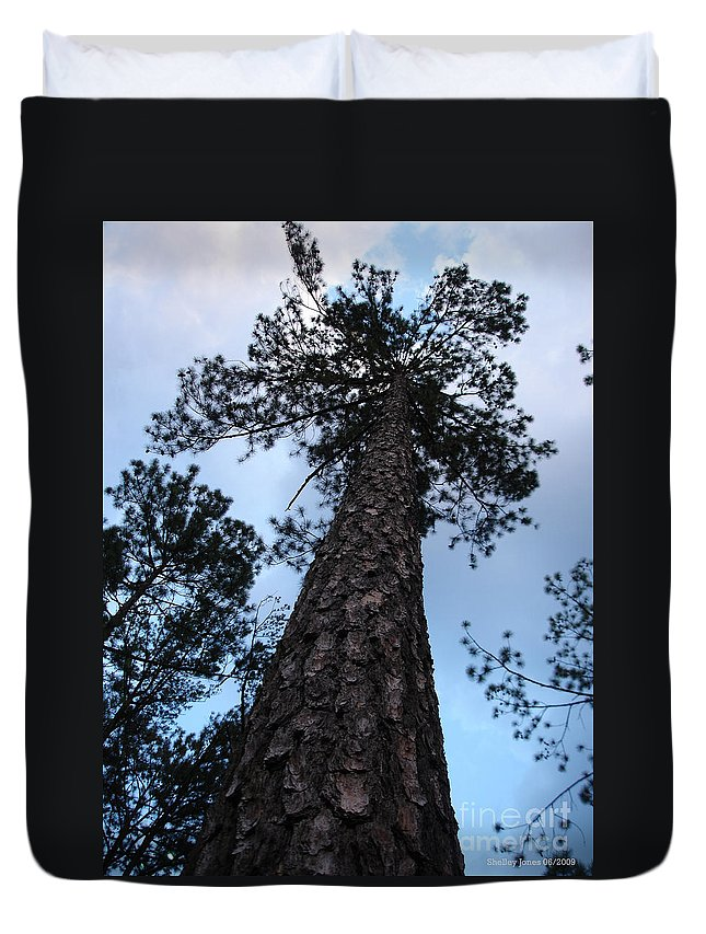 Tree Duvet Cover featuring the photograph I Can Touch The Sky.... Can You by Shelley Jones