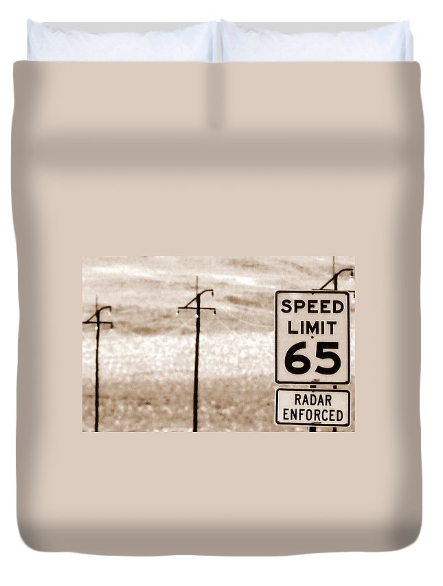 Desert Duvet Cover featuring the photograph I Can't Drive 55 by Edward Smith