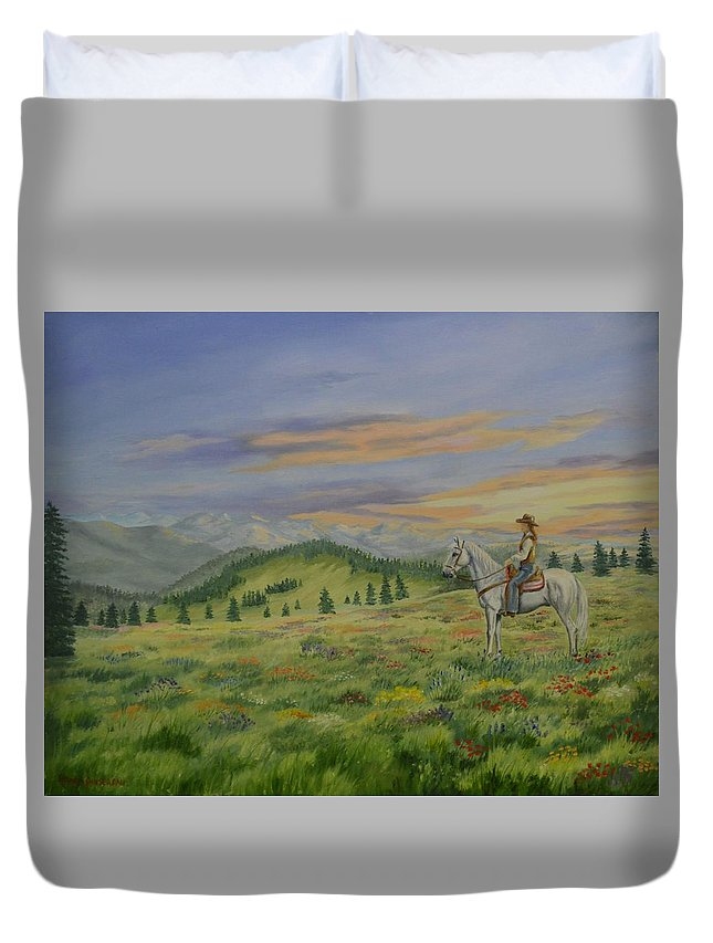 Horse Duvet Cover featuring the painting I Feel So Small by Wanda Dansereau