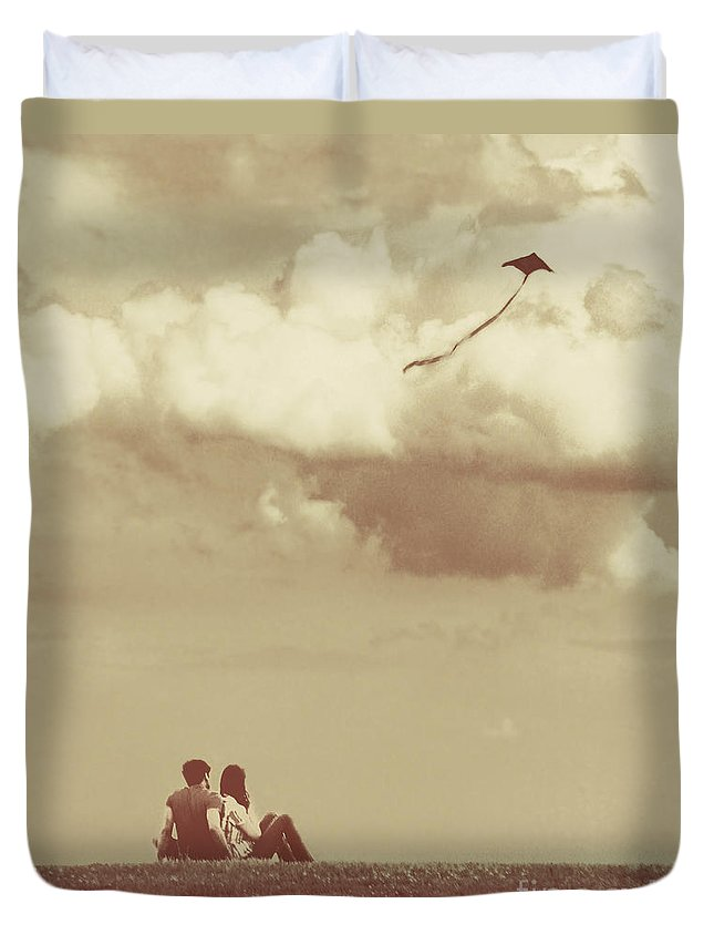 Dipasquale Duvet Cover featuring the photograph I Had A Dream I Could Fly From The Highest Swing by Dana DiPasquale