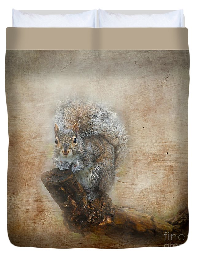 Squirrel Duvet Cover featuring the photograph I Have A Secret by Kerri Farley