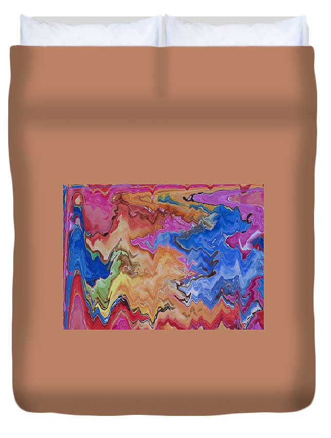 Abstract Duvet Cover featuring the digital art I Have My Head In The Clouds by Lenore Senior