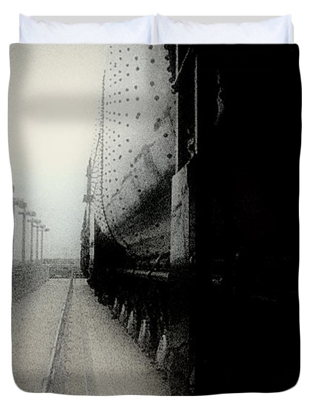 Train Duvet Cover featuring the digital art I Hear That Lonesome Whistle Blow by RC DeWinter