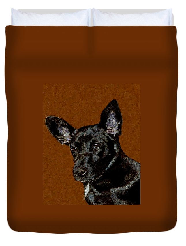 Dog Duvet Cover featuring the painting I Hear Ya - Dog Painting by Patricia Barmatz