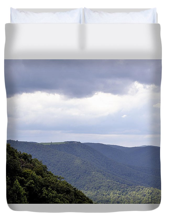 Mountain Scene Duvet Cover featuring the photograph I Look To The Hills by Glenda Ward