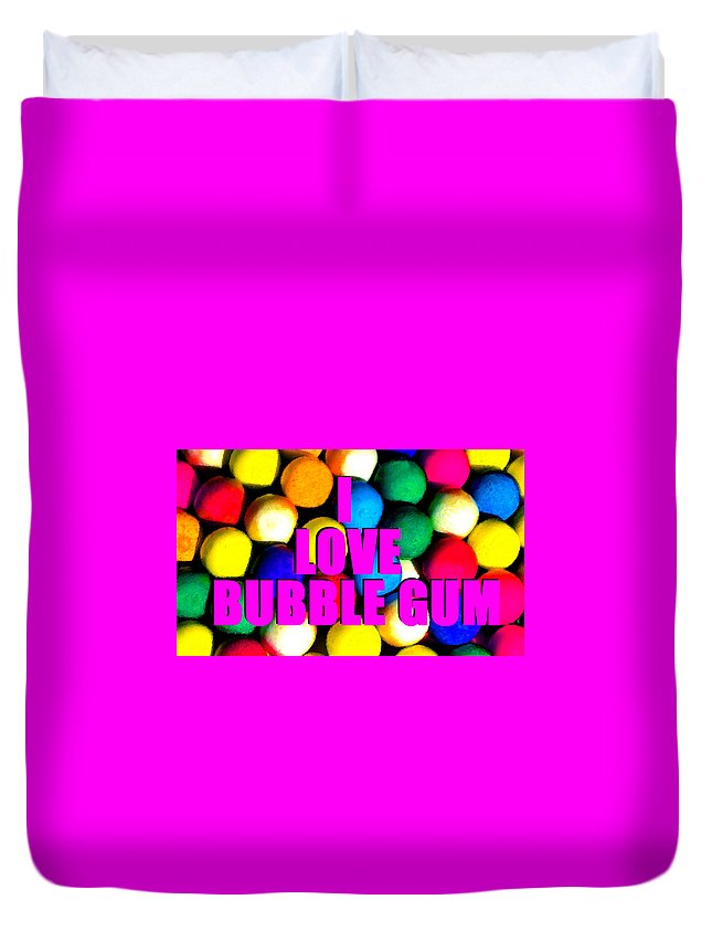 I Love Bubble Gum Duvet Cover featuring the painting I Love Bubble Gum by David Lee Thompson
