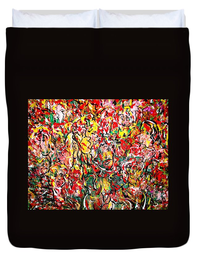 Party Duvet Cover featuring the painting I Love Natalie's Party by Natalie Holland