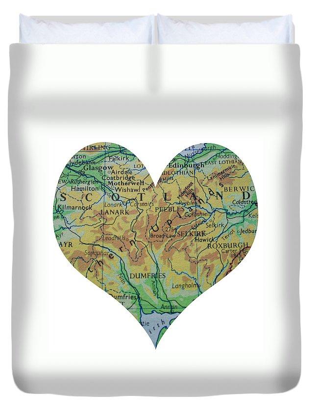 Scotland Duvet Cover featuring the photograph I Love Scotland Heart Map by Georgia Fowler