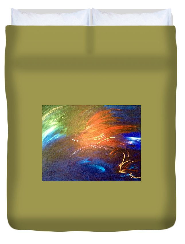 Abstract Duvet Cover featuring the painting I Love You by Maria Isabel Storniolo