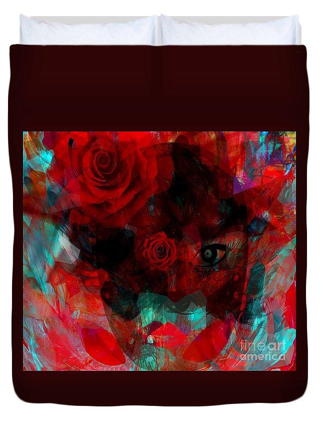 Fanou Duvet Cover featuring the digital art I Named You Rose by Fania Simon