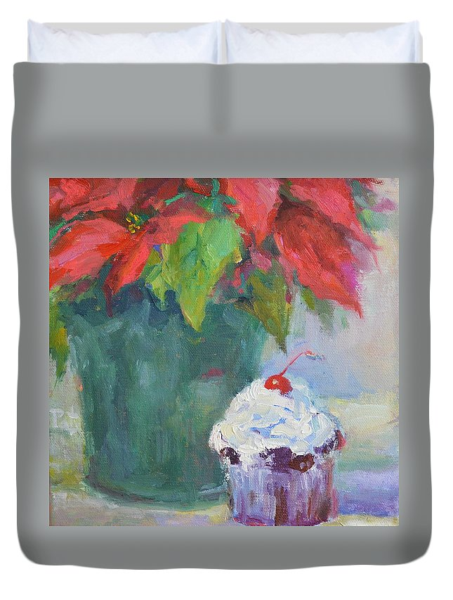 Christmas Duvet Cover featuring the painting I Need A Break by Patricia Maguire