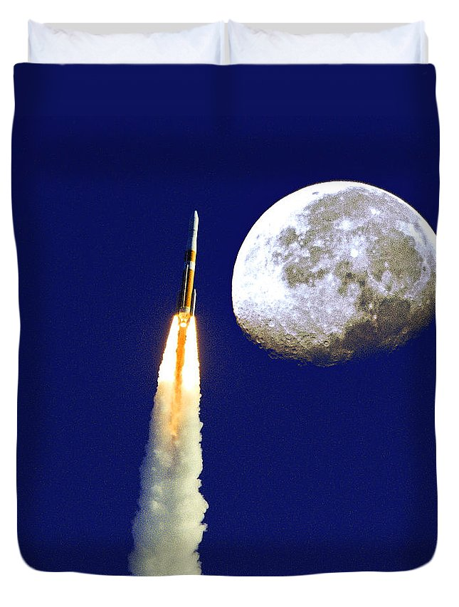 Moon. Rocket Duvet Cover featuring the photograph I Need My Space by Roger Wedegis
