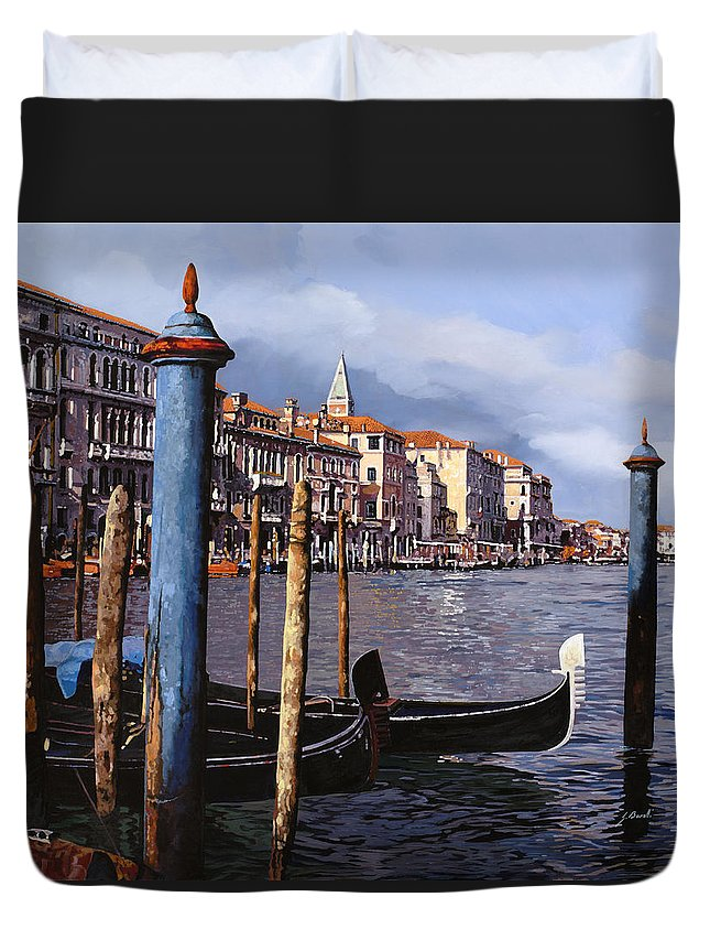 Venice Duvet Cover featuring the painting I Pali Blu by Guido Borelli