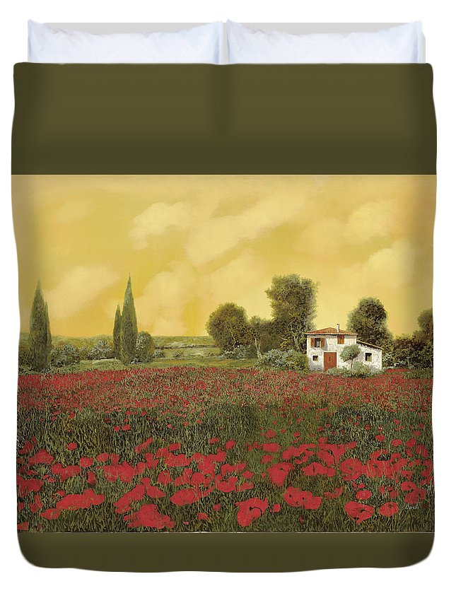 Summer Duvet Cover featuring the painting I Papaveri E La Calda Estate by Guido Borelli