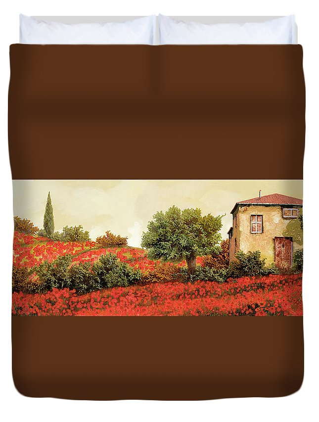 Poppy Duvet Cover featuring the painting I Papaveri Sulla Collina by Guido Borelli