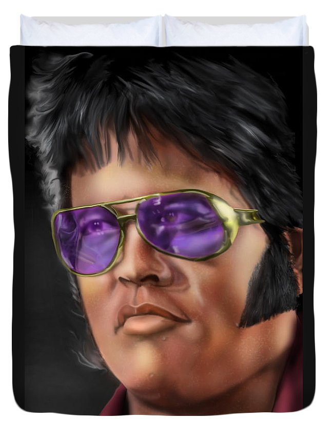Elvis Presley Duvet Cover featuring the painting I Remember Elvis by Reggie Duffie