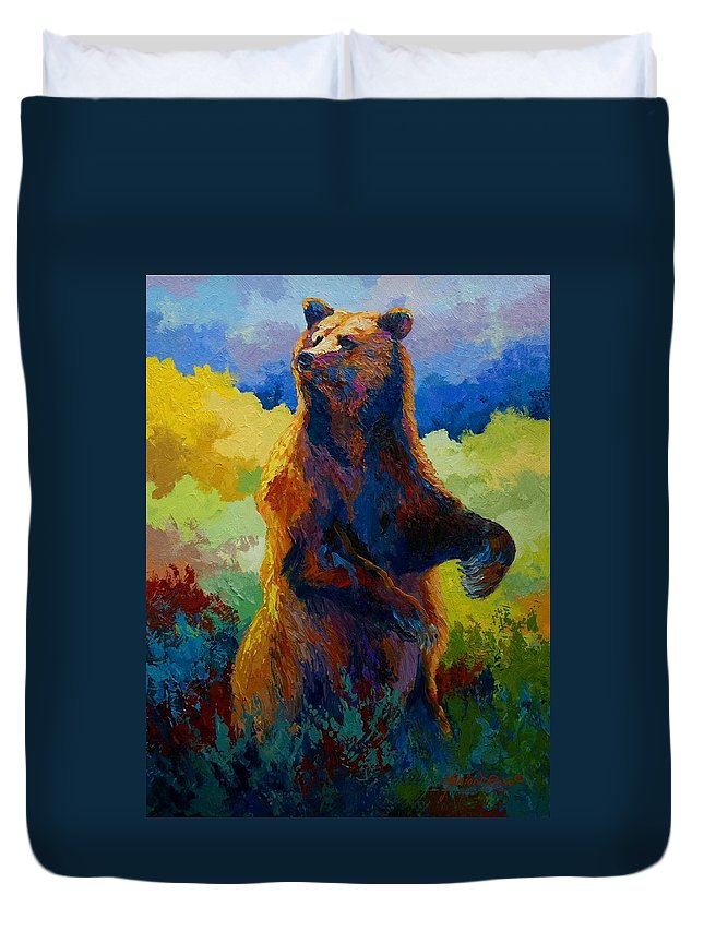 Bear Duvet Cover featuring the painting I Spy - Grizzly Bear by Marion Rose
