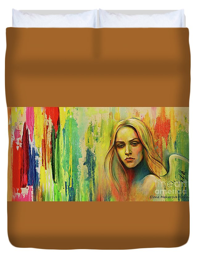 Angel Duvet Cover featuring the painting I Think About You_x by Elena Makarova-Levina