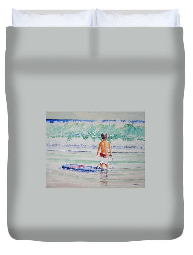 Sea Scape Duvet Cover featuring the painting I Think I Will Wait For Dad. by Tom Harris