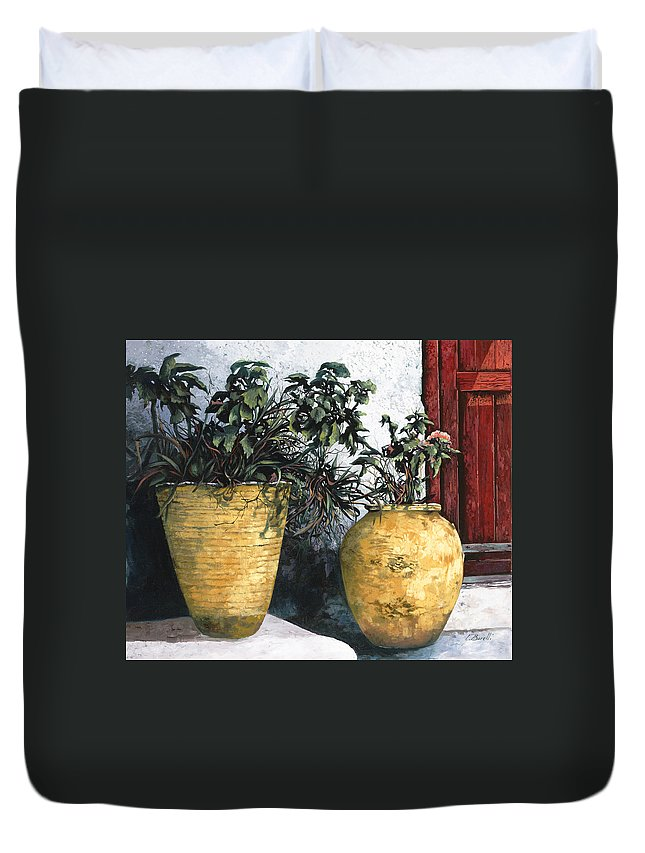 Vases Duvet Cover featuring the painting I Vasi by Guido Borelli