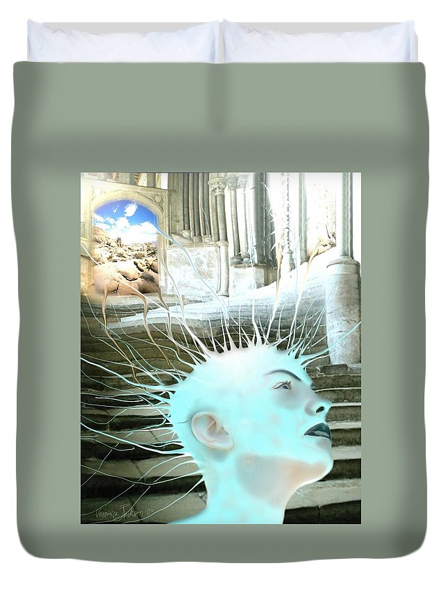 Thoughts Stairs Energy Space Duvet Cover featuring the digital art I by Veronica Jackson