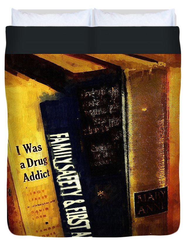 Books Duvet Cover featuring the painting I Was A Drug Addict And Other Great Literature by RC DeWinter