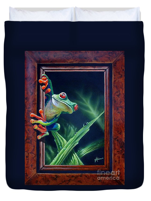 Green Tree Frog Duvet Cover featuring the painting 'i Was Framed' by Greg and Linda Halom