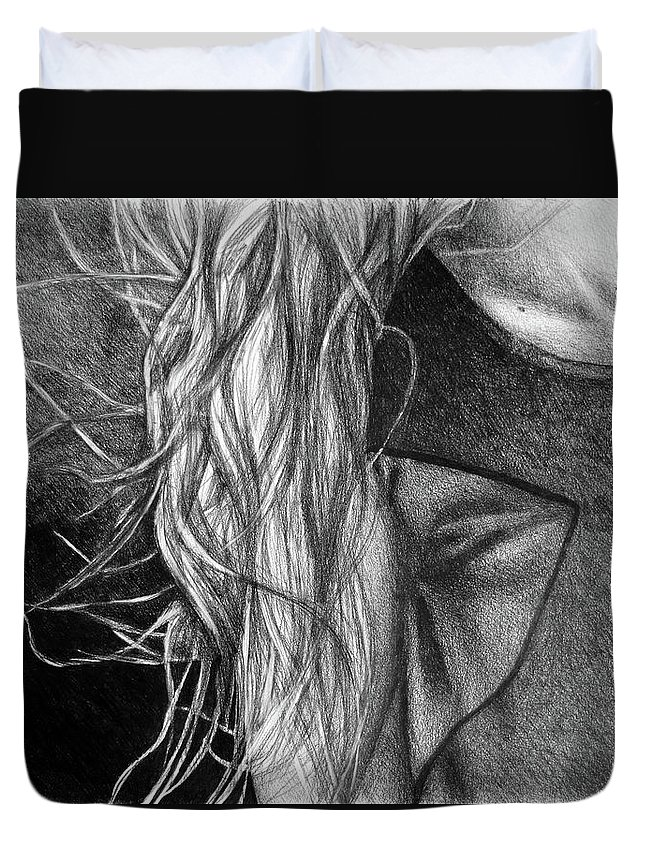 Drawing Duvet Cover featuring the digital art I Will Remain Still Dreaming, 2017, 50-70cm, Graphite Crayon On Paper by Oana Unciuleanu