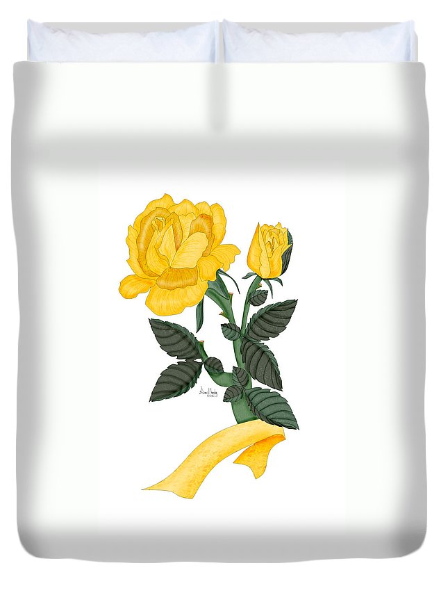 Yellow Rose Duvet Cover featuring the painting I Will Remember by Anne Norskog