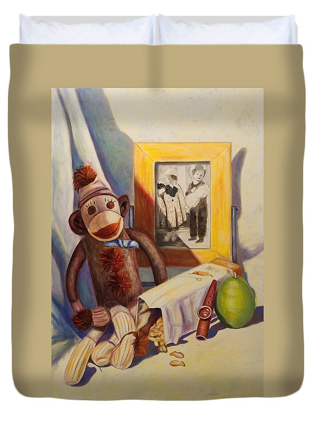 Children Duvet Cover featuring the painting I Will Remember You by Shannon Grissom