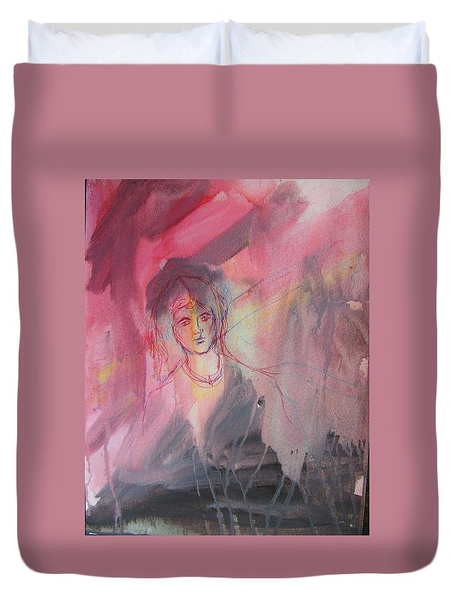 Abstract Duvet Cover featuring the painting I Wish I Could Hear The Blues You Sing To Yourself by Judith Redman