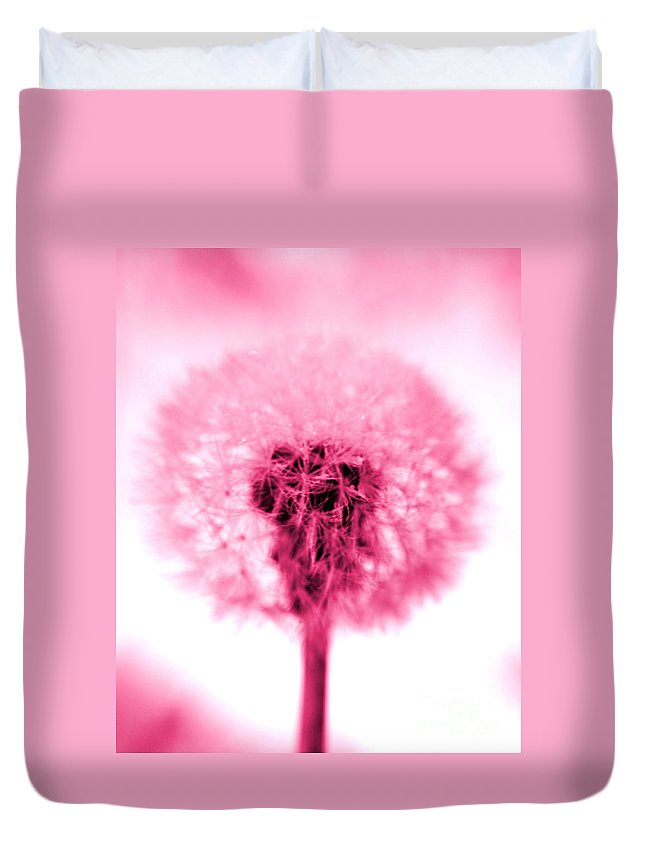 Dandelion Duvet Cover featuring the photograph I Wish In Pink by Valerie Fuqua