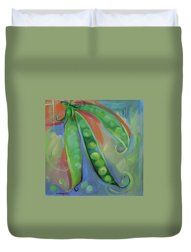 Peas Duvet Cover featuring the painting I Wish You Peas by Ginger Concepcion