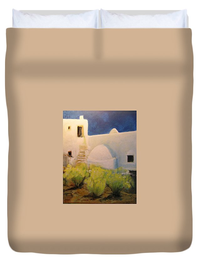 Landscape Duvet Cover featuring the painting Ibicencan Country House by Lizzy Forrester