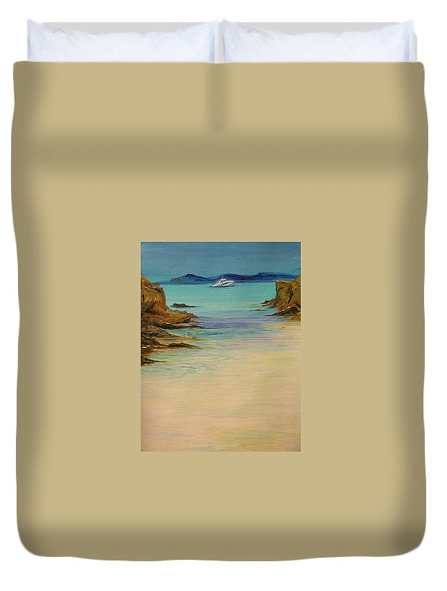 Seascape Original Painting Duvet Cover featuring the painting Ibiza In The Distance.... by Lizzy Forrester