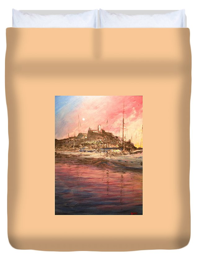 Yachts Duvet Cover featuring the painting Ibiza Old Town At Sunset by Lizzy Forrester