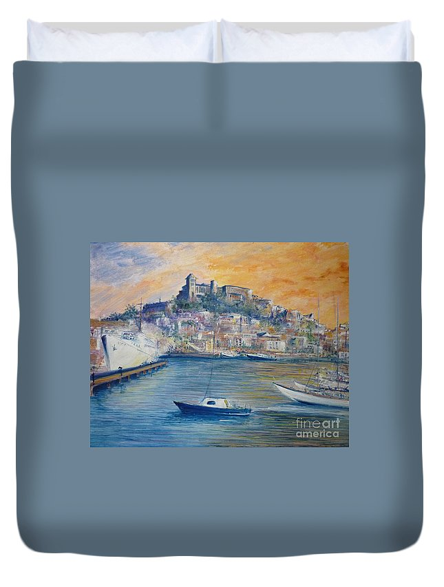 Marina Duvet Cover featuring the painting Ibiza Old Town Marina And Port by Lizzy Forrester