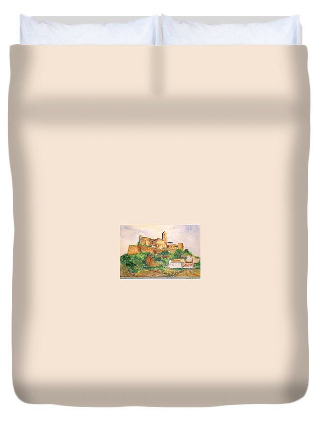 Landscape Duvet Cover featuring the painting Ibiza Old Town Unesco Site by Lizzy Forrester