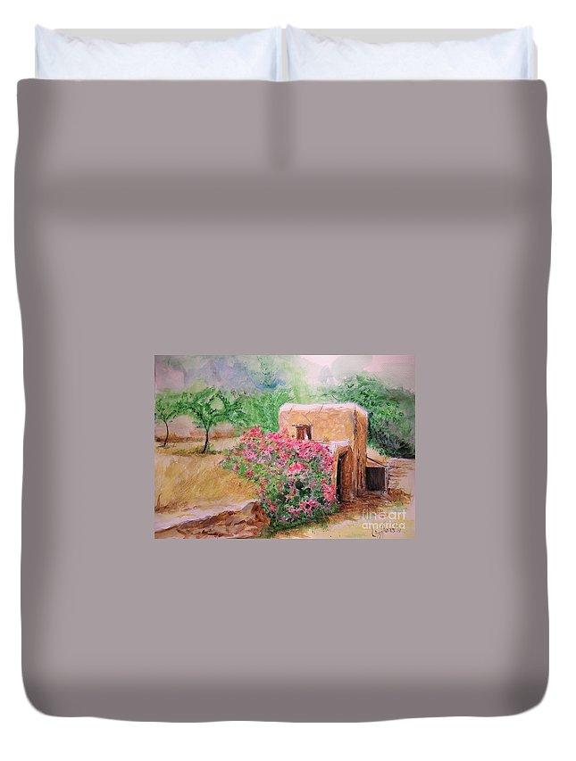 Rustic Duvet Cover featuring the painting Ibiza Rustica by Lizzy Forrester