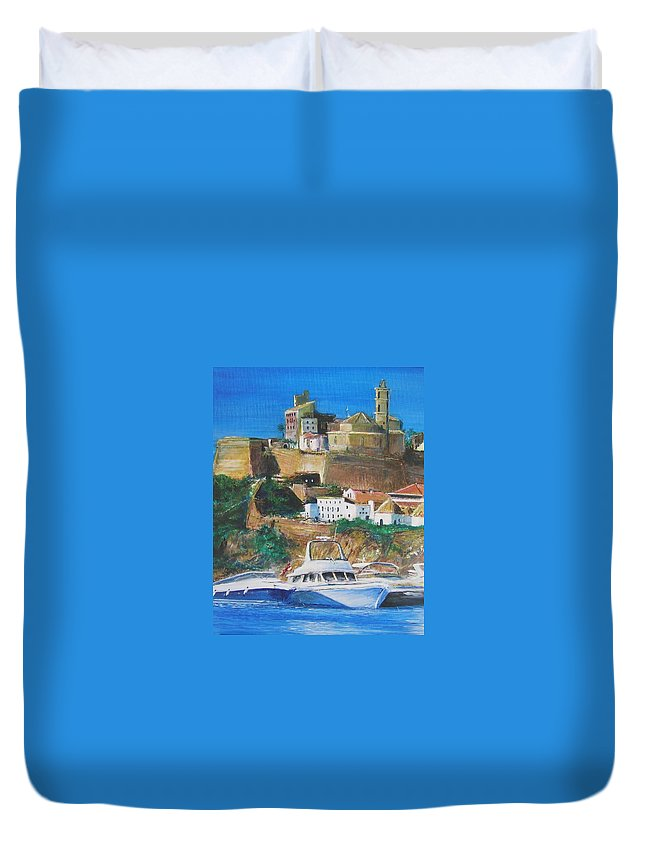 Original Landscape Painting Duvet Cover featuring the painting Ibiza Town by Lizzy Forrester