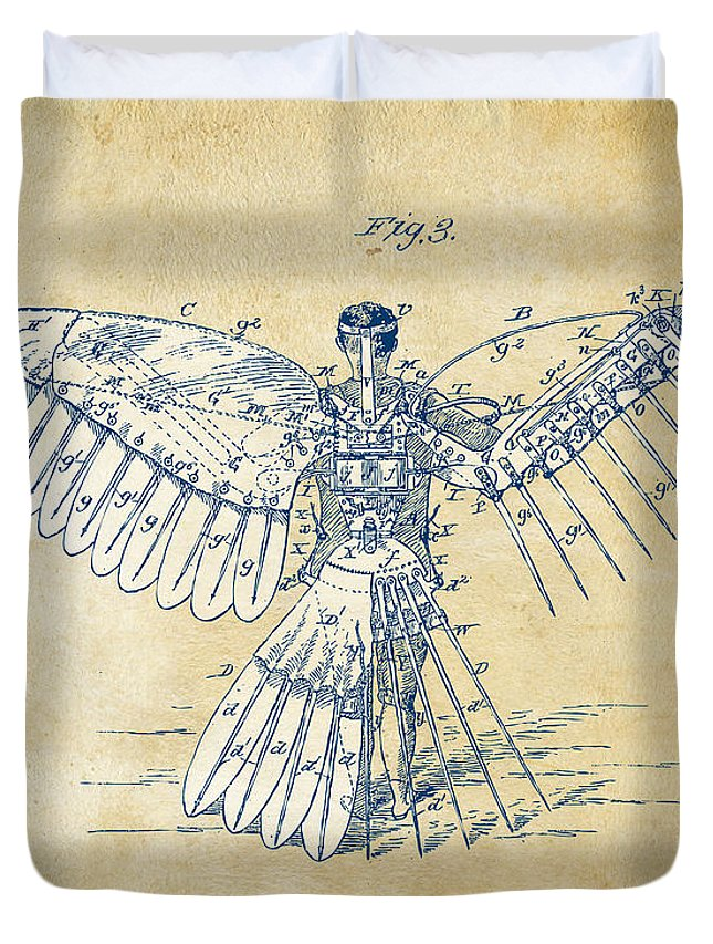 Patent Duvet Cover featuring the digital art Icarus Human Flight Patent Artwork - Vintage by Nikki Smith