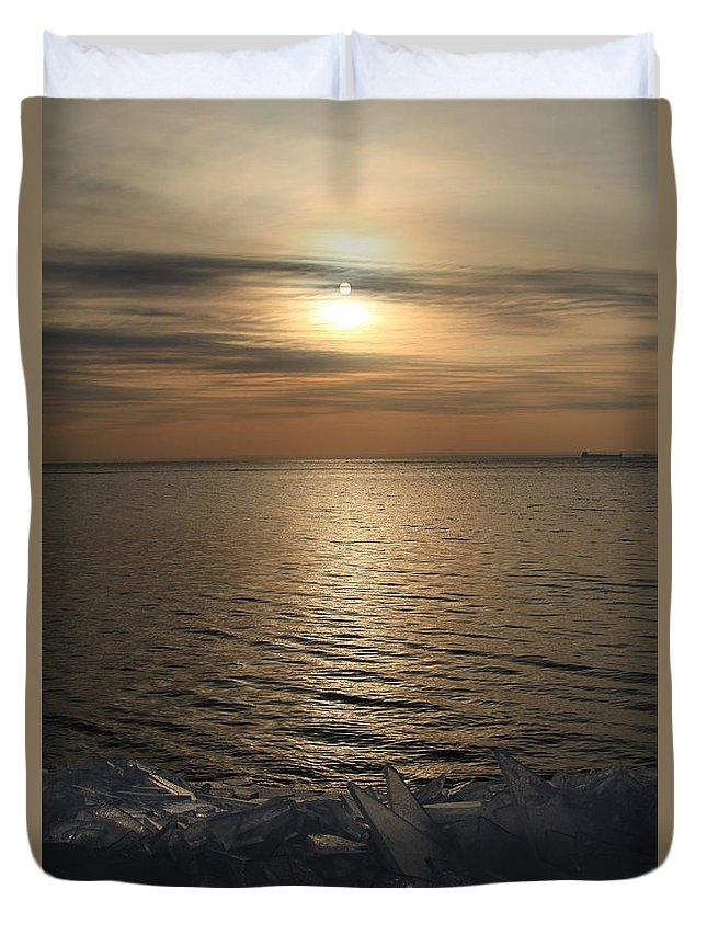 Ice Shove Duvet Cover featuring the photograph Ice 2018 # 5 by Rick Rauzi