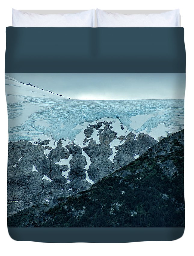 Alaska Duvet Cover featuring the photograph Ice And Rock by Maria Keady