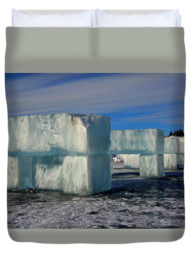 Ice Duvet Cover featuring the photograph Ice Blocks by Harry Coburn